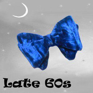 Blue Velvet Bowtie, Vintage Clip On for MOD Tux